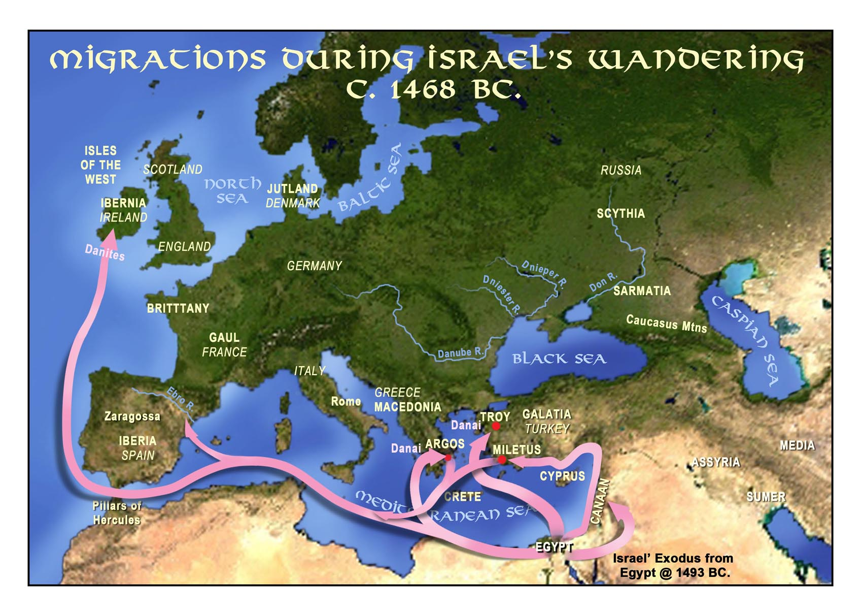 Migrations during Israel's Wandering c. 1468 B.C.